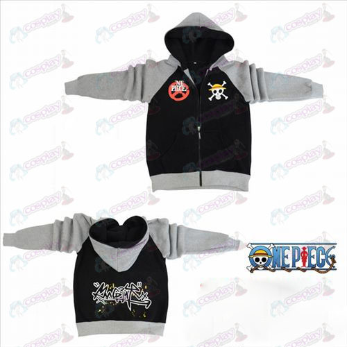 One Piece Accessories Luffy flag fork sleeve zipper hoodie sweater