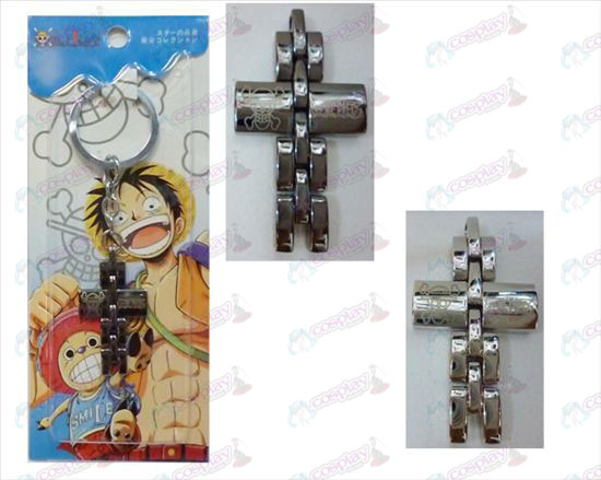 One Piece Accessories black and white cross key chain