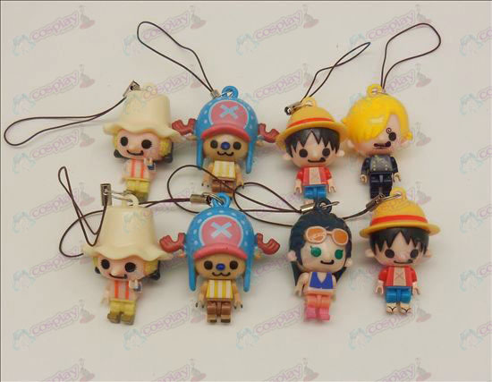 8 models One Piece Accessories Doll Mobile Strap (three governance) movable