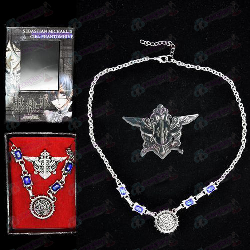 Black Butler Accessories seal logo necklace + brooch