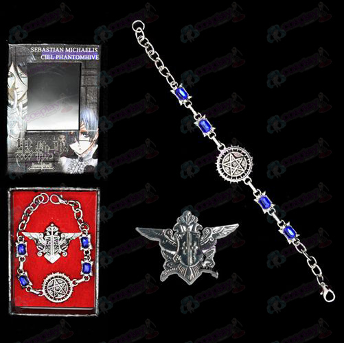 Black Butler Accessories seal logo bracelet + brooch