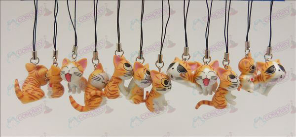 12 Sweet Cat Accessories Toy Machine Strap (Orange)