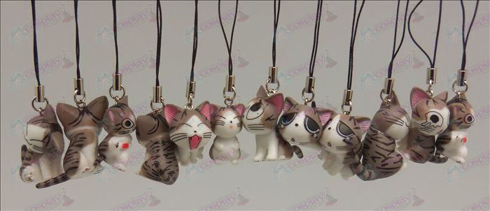 12 Sweet Cat Accessories Toy Machine Strap (Grey)