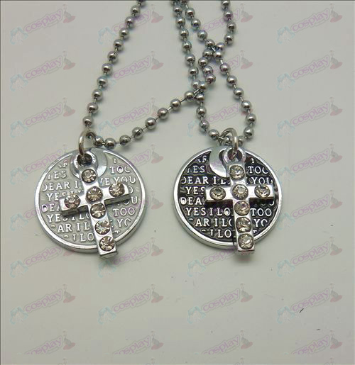 Death Note Accessories Cross disc couple (with diamond) necklace (box)
