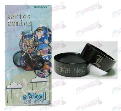 Death Note Accessories card installed black steel couple rings