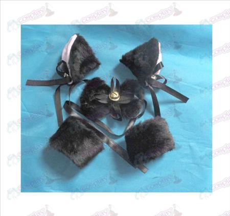 Black bell BB folder cat ears + tie + Elastic Bracelet