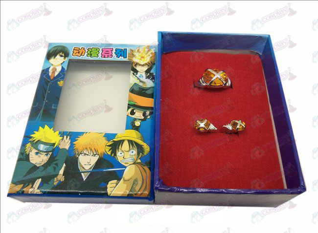 D Shakugan no Shana gemstone ring + earrings (big ring orange)