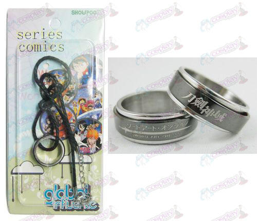 Sword Art Online Accessories Black Steel Ring Necklace transporter - Rope
