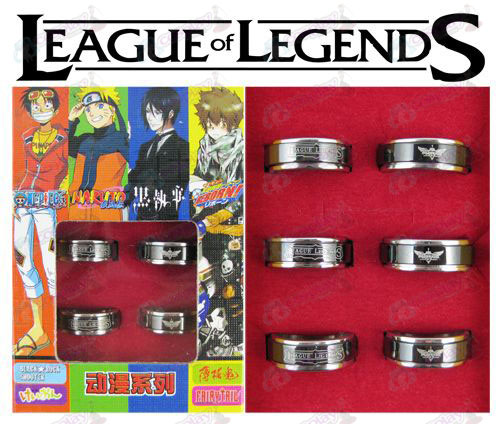 League of Legends Accessories black steel rotating ring (6 / set)