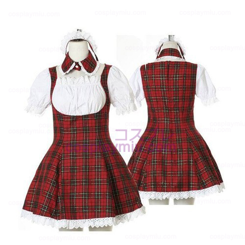 Sweet Red Plaid Maid Cosplay Lolita Cosplay Costume