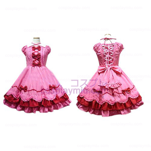 Peach Bow Princess Dress Lolita Cosplay Costume