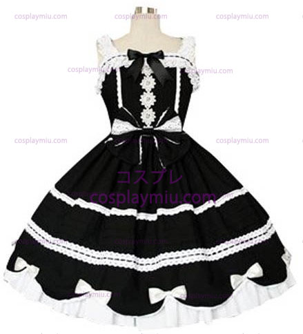 Black And White Gothic Lolita Cosplay Dress