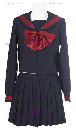 Deep Blue Long Sleeves Sailor School Uniform