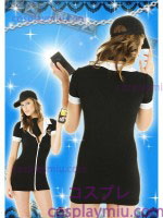 Sexy Black V-neck Lady Police Costume with White Collar