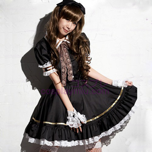Black Lovely Lolita Maid Outfit Miniskirt Cosplay Costumes