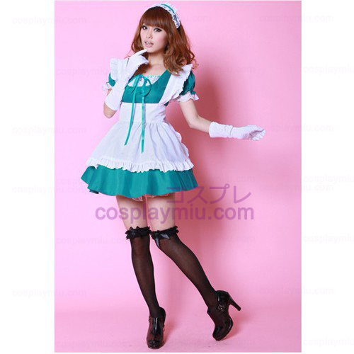 White Apron and Green Skirt Maid Costumes