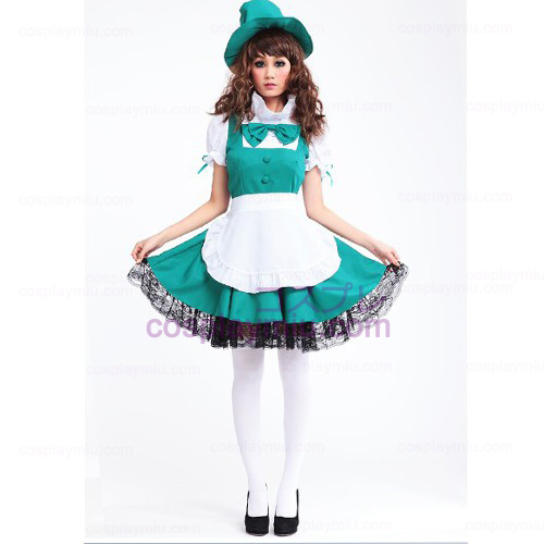 White Apron and Green Skirt Anime Lolita Maid Costumes