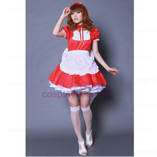 Red Bowknot Lolita Maid Outfit /Cosplay Maid Costumes