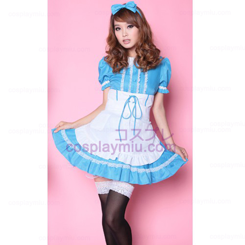 White Apron and Blue Skirt Alice Maid Costumes