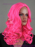 "20"" Hot Pink Curly Midpart Cosplay Wig"