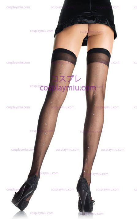 Sheer Stockings with Rhinestones