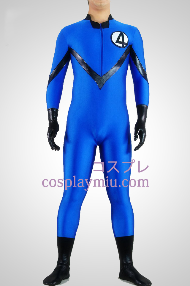 Blue Lycra Spandex And Shiny Metallic Unisex Superhero Zentai
