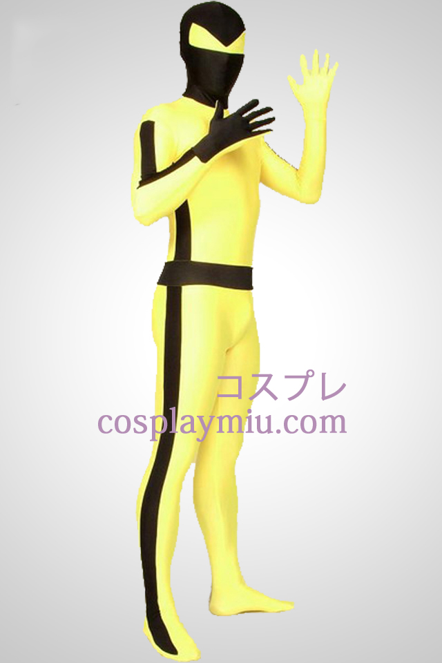 Yellow And Black Stripe Bruce Lee Lycra Spandex Superhero Zentai Suit
