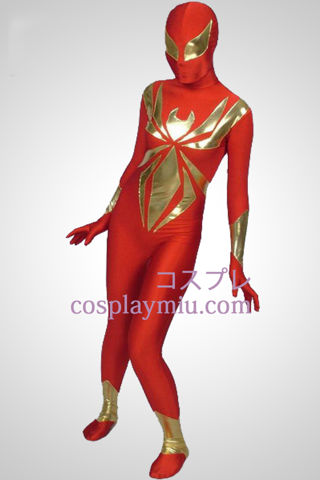 Red Lycra And Shiny Metallic Piece Together Superhero Zentai Suit