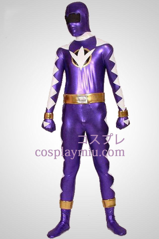 Dino Thunder Purple Ranger Lycra And Shiny Metallic Zentai Suit