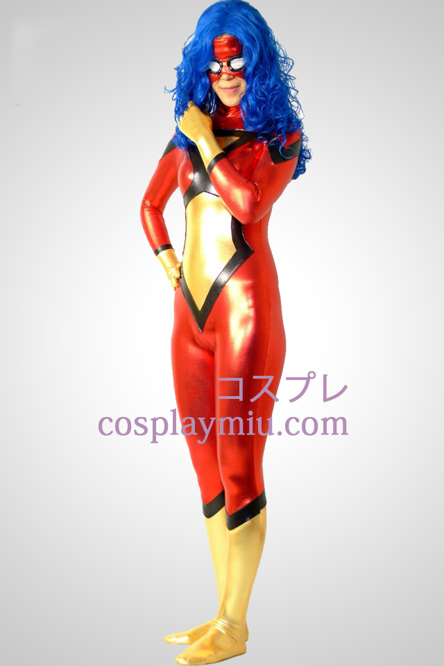 Spider-Women Jessica Drew Shiny Metallic Superhero Zentai Suit