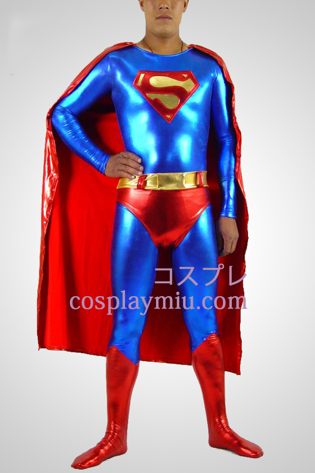 Blue And Red Superman Shiny Metallic Superhero Catsuit