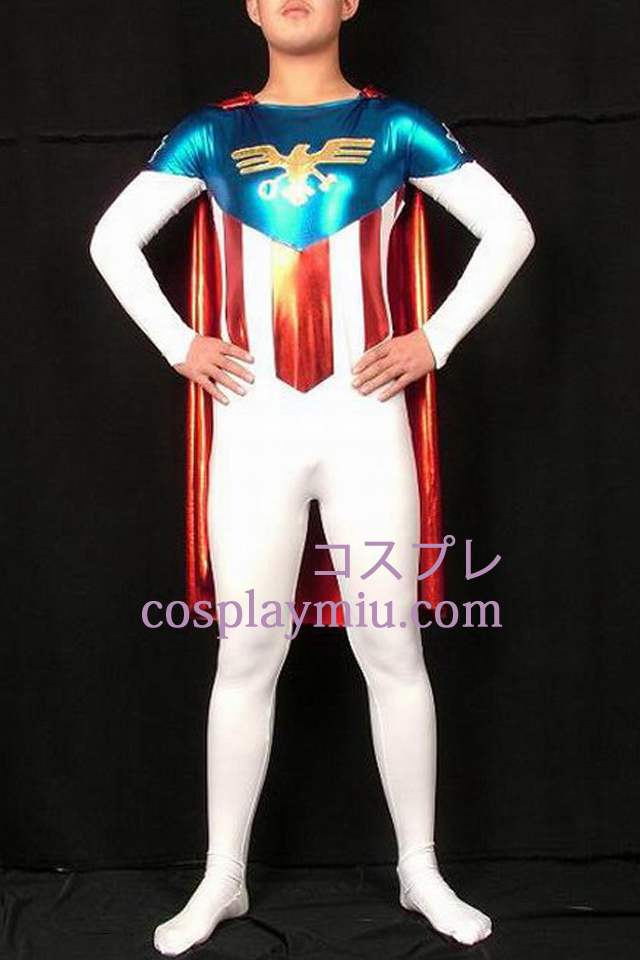 Flag Superman Lycra And Shiny Metallic Superhero Zentai Suit