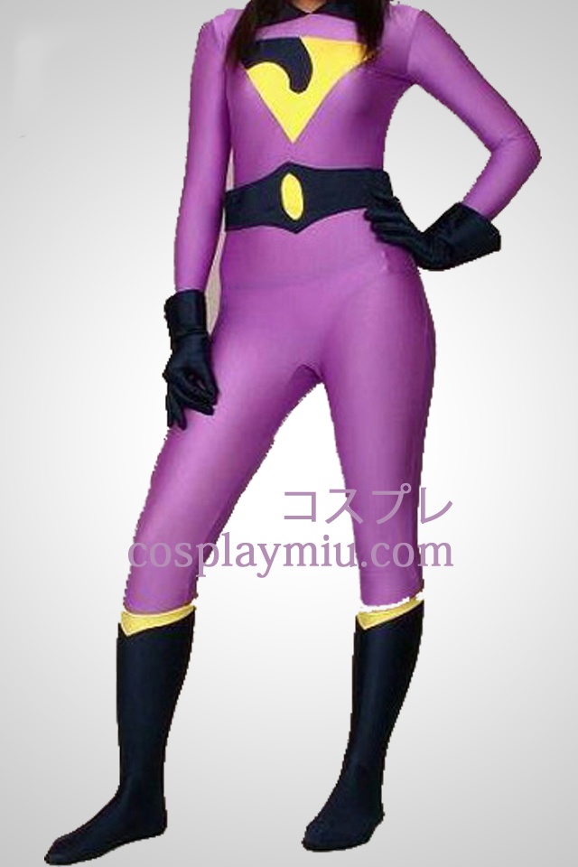 Purple Lycra Spandex Superhero Zentai Without Hood