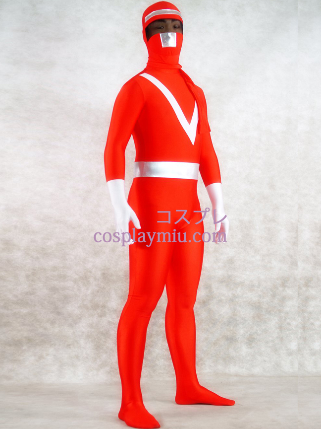 Red Lycra Spandex and Sliver Shiny Metallic Zentai Suit