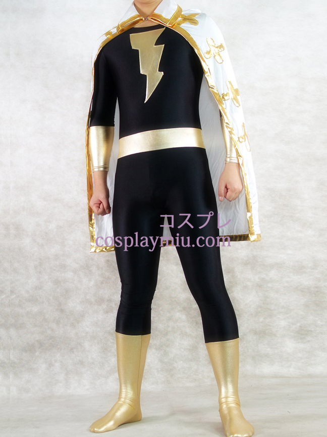 Gold And Black Shiny Metallic Unisex Superhero Zentai Suit