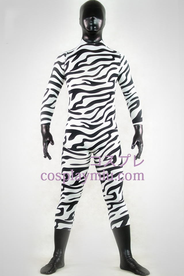 Shiny Metallic White And Black Zebra Zentai Suit