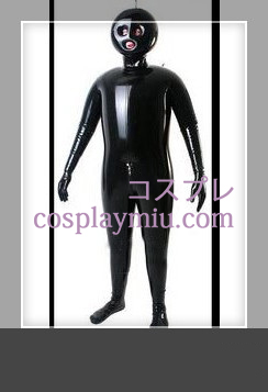 Black Full Body Covered Inflatable Latex Costume with Open Eyes and Mouth & Black Full Body Covered Inflatable Latex Costume with Open Eyes and ...