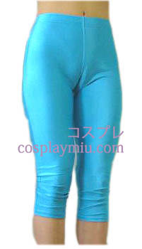 Blue Female Lycra Spandex Capris Pants