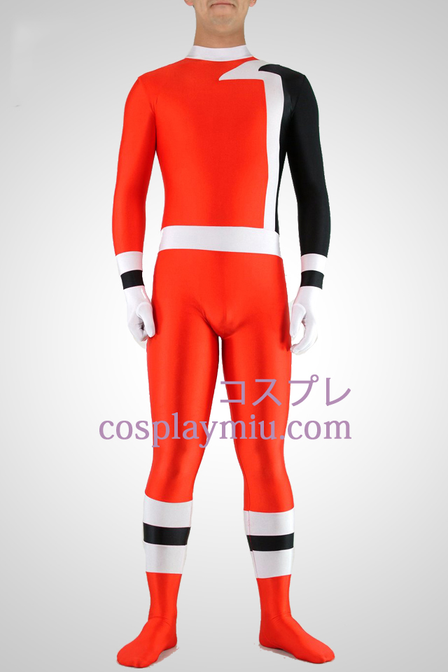 White Black Red Lycra Spandex Unisex Catsuit