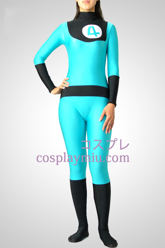 Blue And Black Lycra Spandex Catsuit