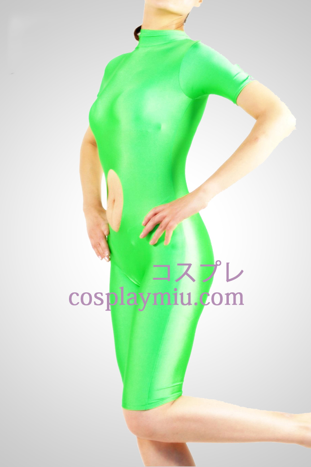 Green Short Sleeved Lycra Spandex Unisex Catsuit