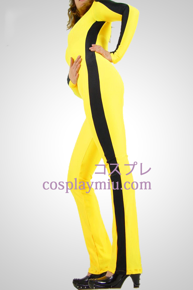 Yellow Black Bar Gym Lycra Spanbdex Catsuit