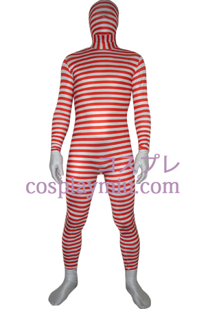 Red White Striped Spandex Lycra Zentai Suit