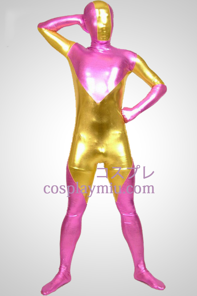 Gold And Pink Shiny Metallic Zentai Suit