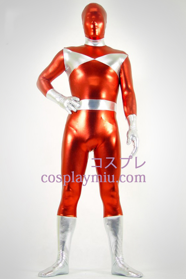 Silver And Red Shiny Metallic Zentai Suit