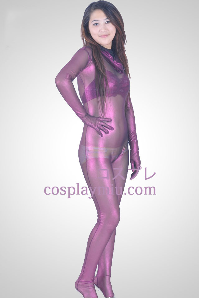 Purple Velvet Semi-transparent Zentai Suit