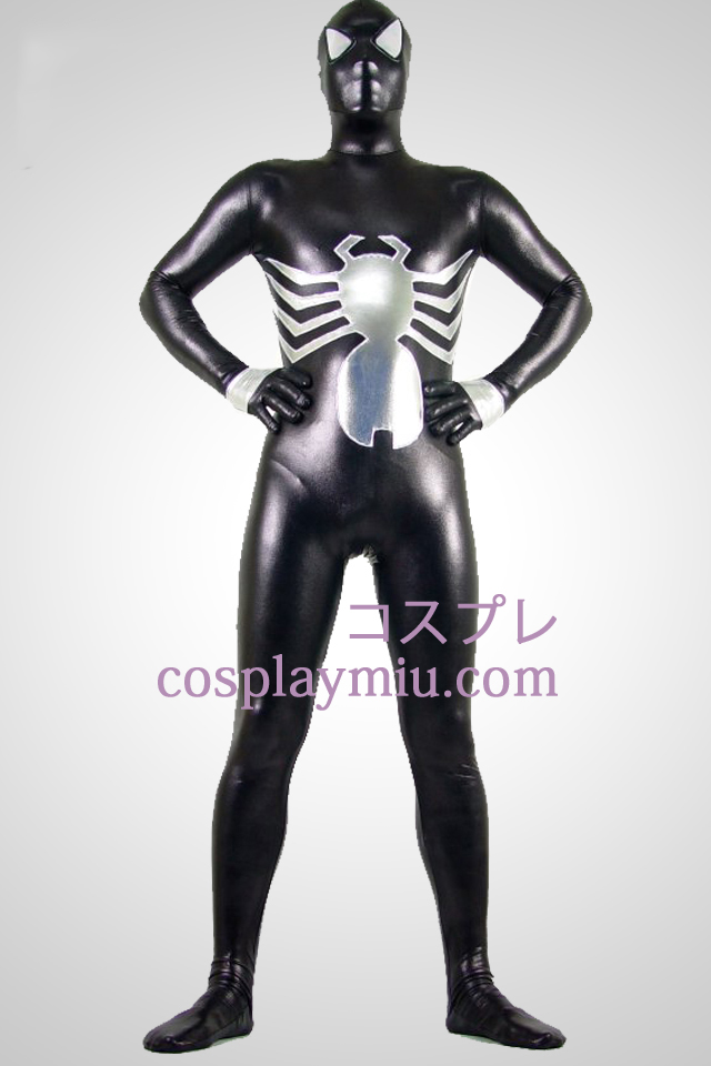 Black And Silver Shiny Metallic Spiderman Superhero Zentai