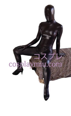 Black Sexy Shiny Metallic Zentai