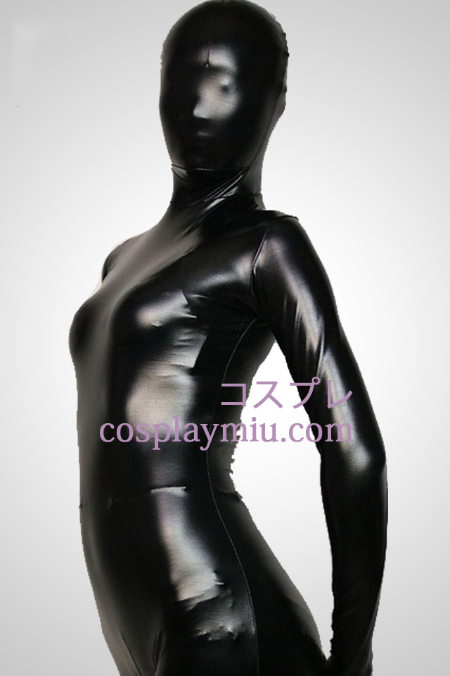 Black Full Body Shiny Metallic Zentai Suit