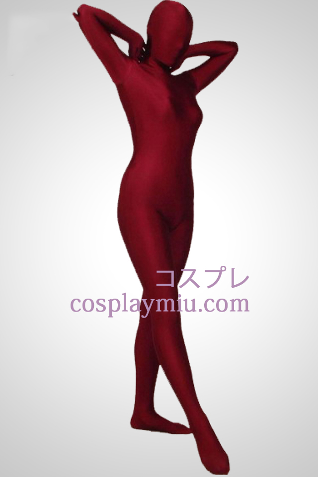 Dark Red Full Body Lycra Spandex Zentai Suit